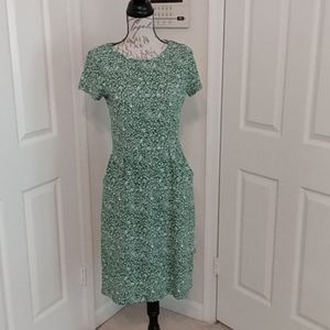 Boden knit dress green print size 6